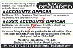 Accounts Officers and Assistant Account officers Wanted
