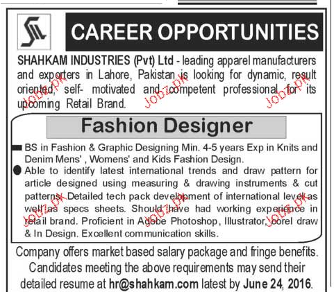 Fashion Designers Job In Shahkam Industries Pvt Ltd 2020 Job Advertisement Pakistan