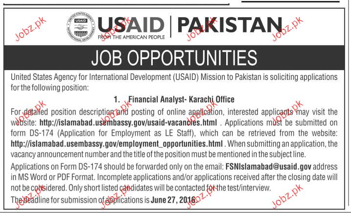 Financial Analysts Job in USAID in Pakistan