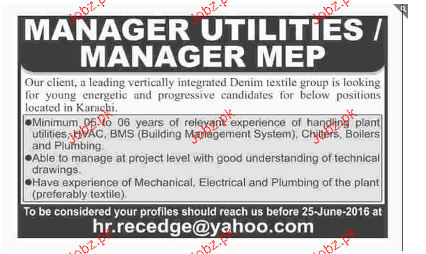 Manager Utilities / Manager MEP Job Opportunity
