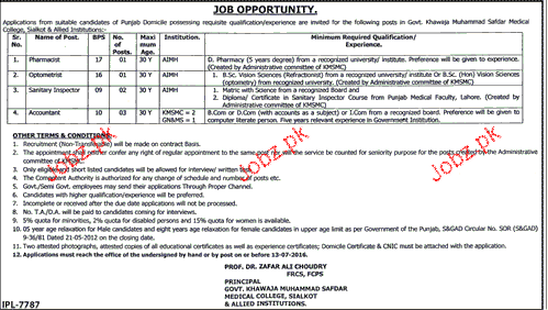 Pharmacists, Sanitary Inspectors and Accountant Wanted