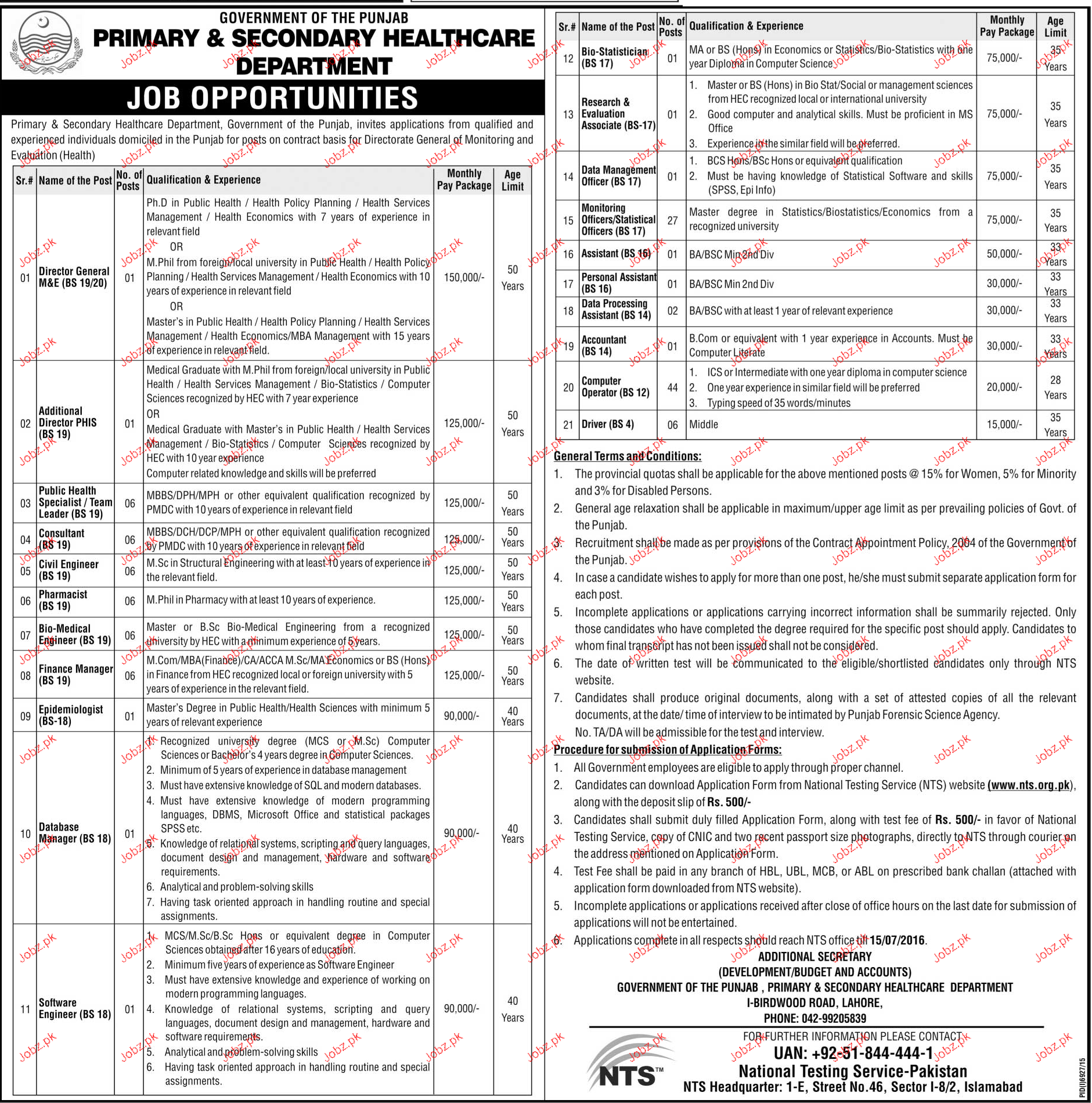 Director General, Consultants, Pharmacists Job in Health Dep
