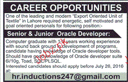 Senior and Junior Oracle Developers Job Opportunity