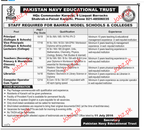 Principal, Vice Principal, Teachers, Librarian Wanted