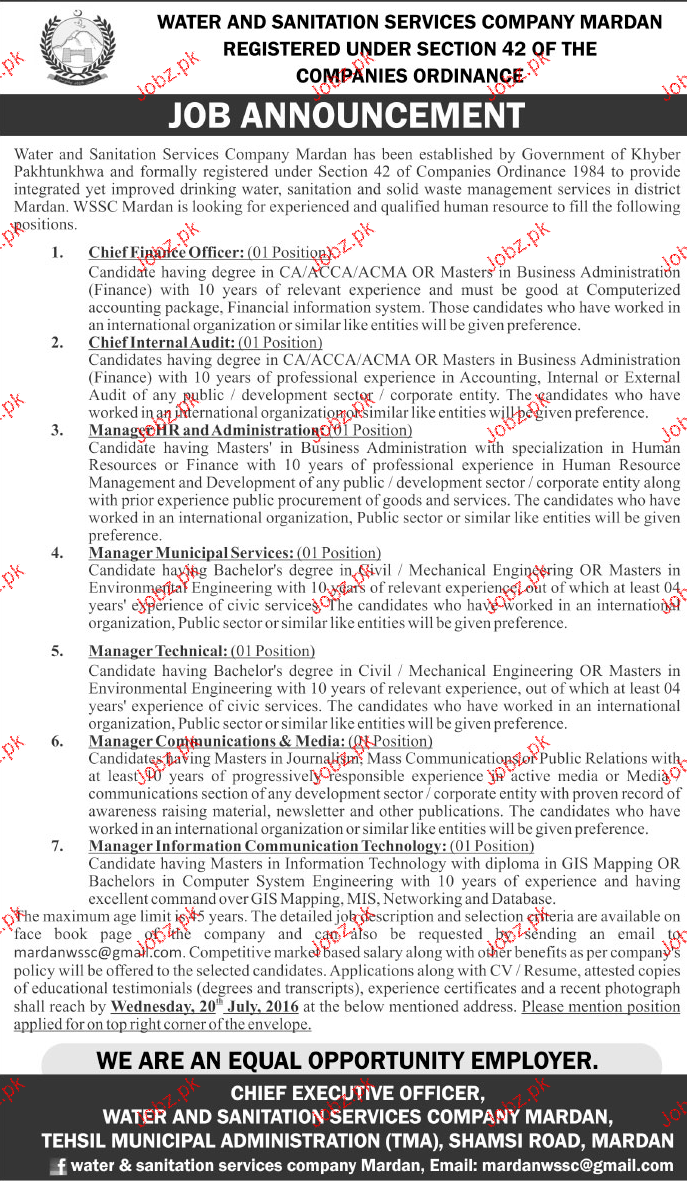 Manager HR, Manager Municipal Services Job in WASA