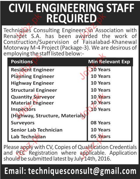 Resident Engineer, Planning Engineer, highway, Quantity,