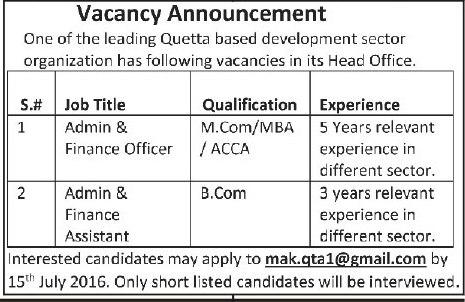Admin & Finance Officer, Admin & Finance Assistant Jobs