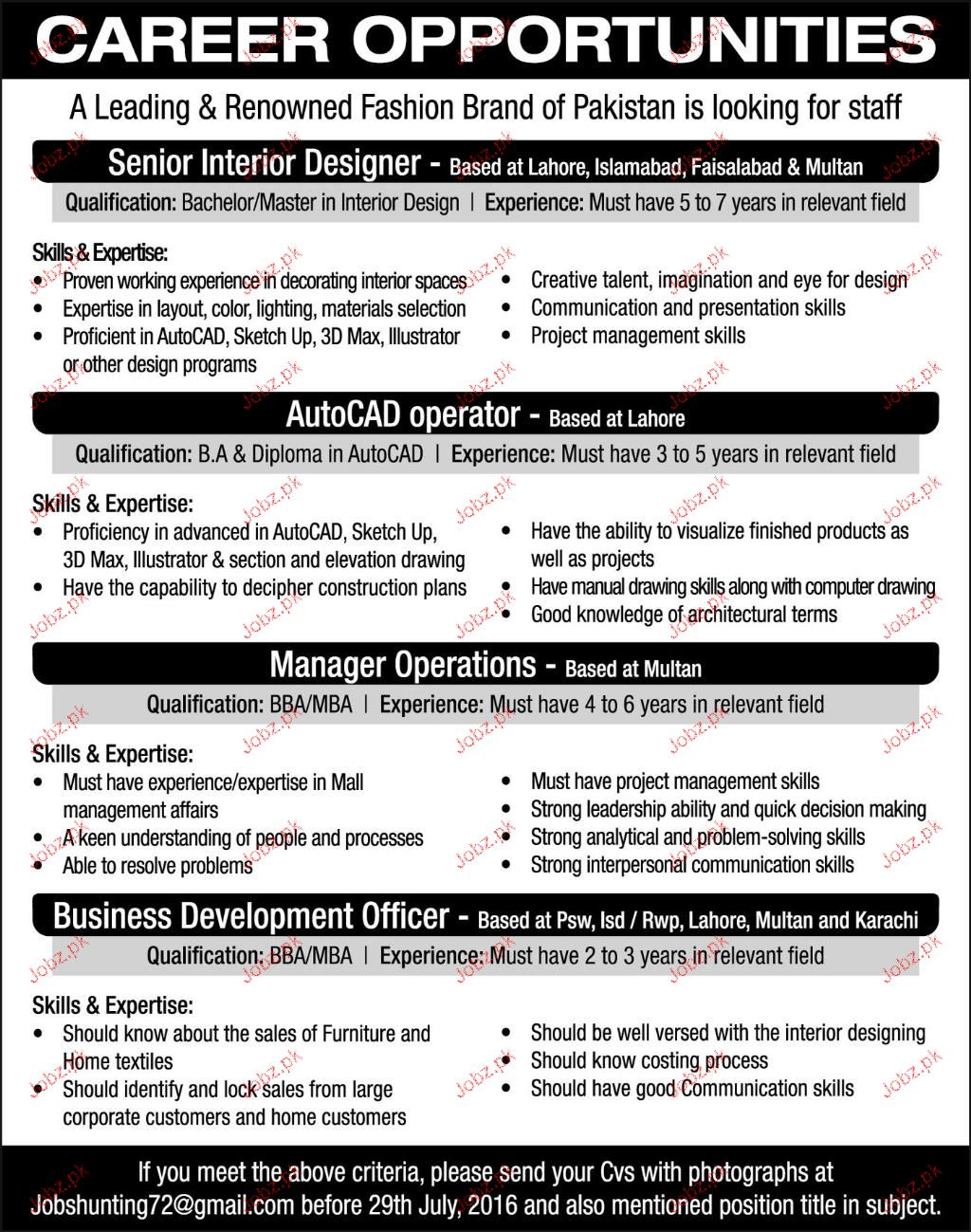 Senior interior designers manager operations wanted 2019 - Interior design job advertisements ...