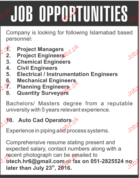 Project Manger, Chemical Engineers Job Opportunity