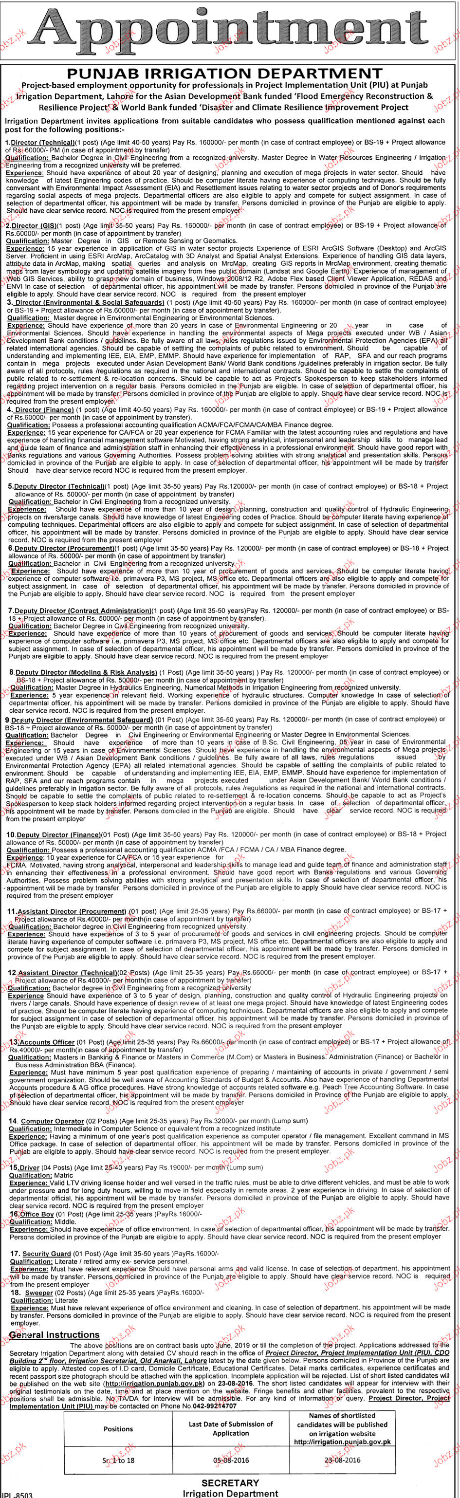 Director Technical, Director GIS Job in Irrigation Dept