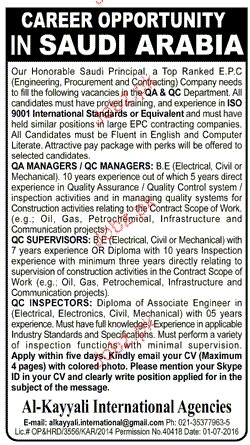 QA Manager, QC Managers Job Opportunity