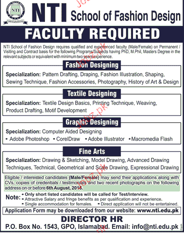 Teaching Staff Job In Nti School Of Fashion Design 2020 Job Advertisement Pakistan