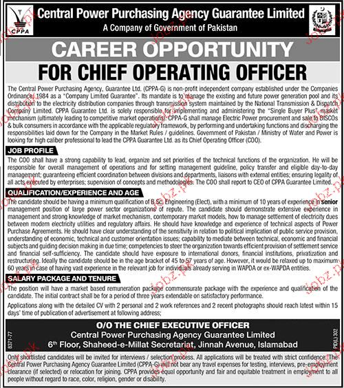 Chief operating officers job in central power purchasing 2019 job advertisement pakistan - Chief operating officer jobs ...