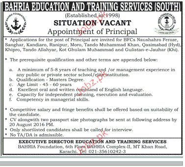 Principal Job in Bahria Education and Training Service