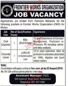 Civil Engineers and Corporate Lawyers Job in FWO