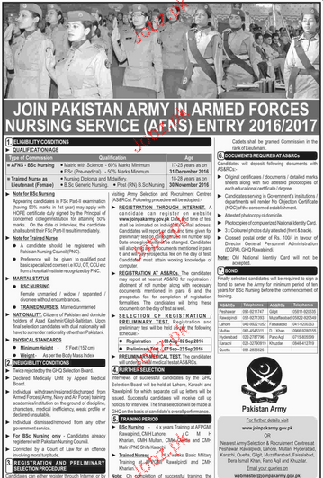 Recruitment of Nursing Staff in Pakistan Army 2019 Job