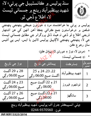 Recruitment of Police Constables Sindh Police