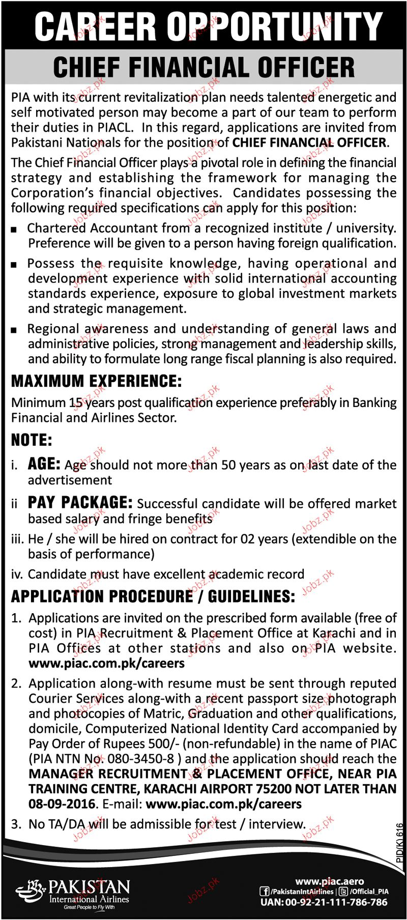 Chief Financial Officers Job in PIA