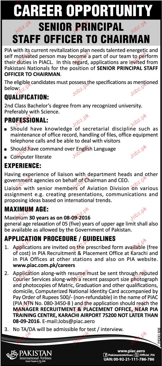 Senior Principal Job in Pakistan International Airlines