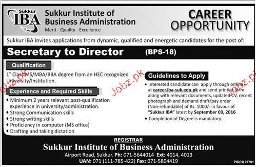 Secretary To Director Job inSukkur Institute of Business Adm