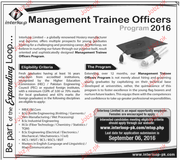 Management Trainee Officers Job Opportunity