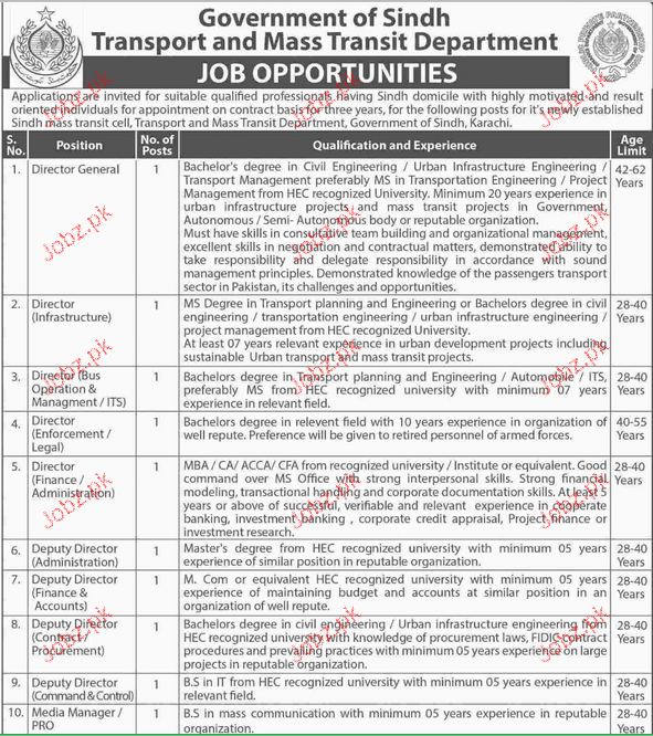 Director General, Director Bus Operations Job Opportunity