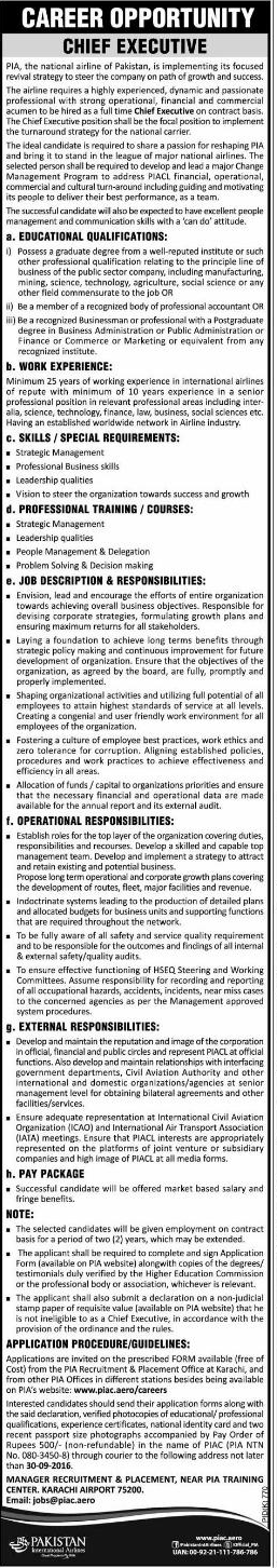 Chief Executive Job in Pakistan International Airlines