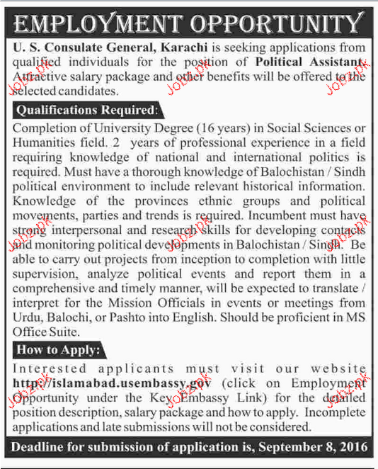 Political Assistants Job Opportunity