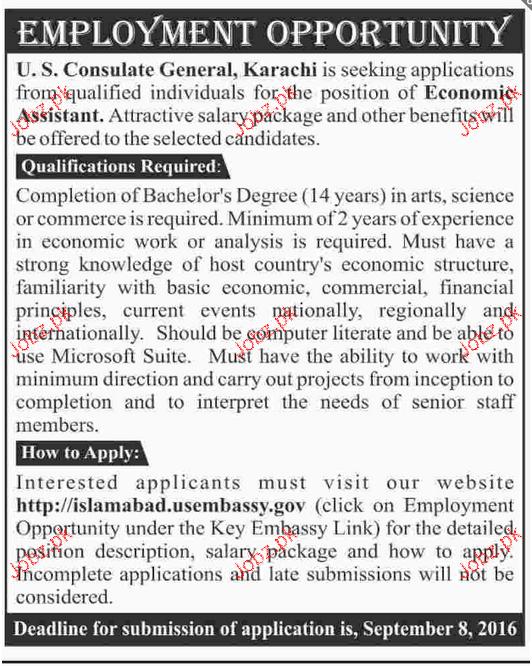 Economist Assistants Job Opportunity