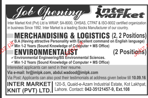 Merchandising and Environmentalists Job Opportunity