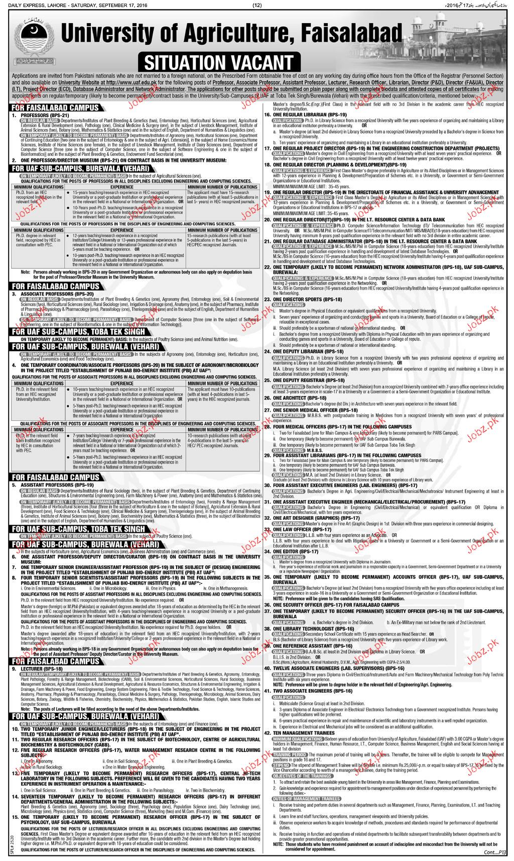 Teaching Jobs in University of Agriculture