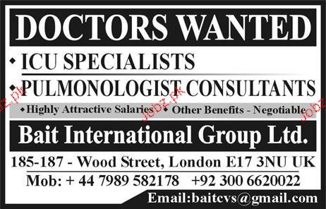 ICU Specialists and Pulmonologists Consultants Wanted