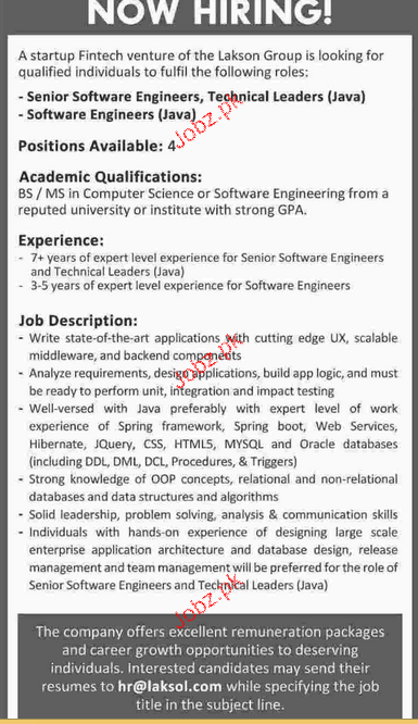 Senior Software Engineers and Software Engineers Wanted