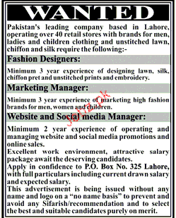 Fashion Designers, Marketing Managers Job Opportunity