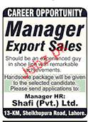 Manager Export Sales Job Opportunity