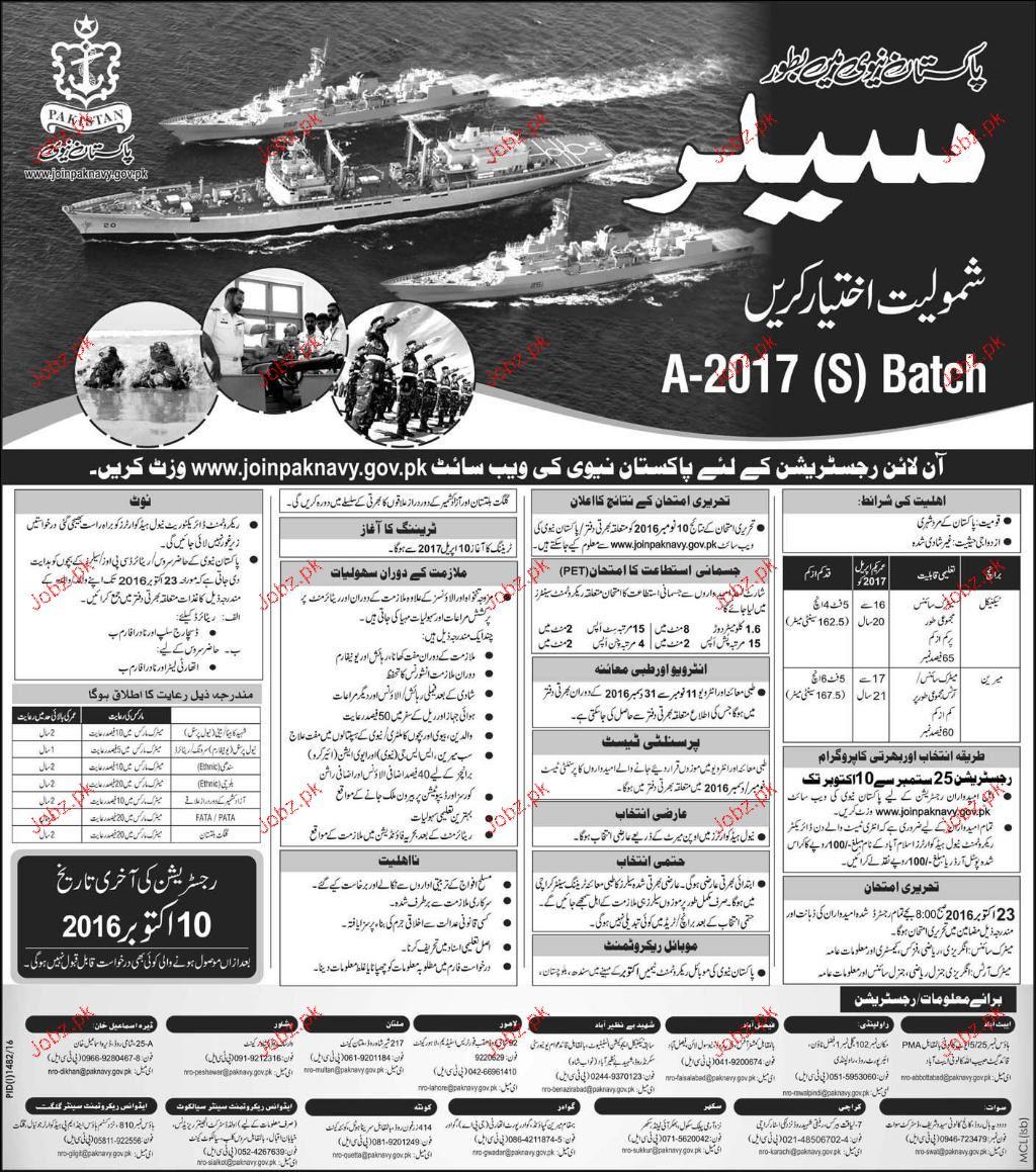 Recruitment of Sailors in Pakistan Navy