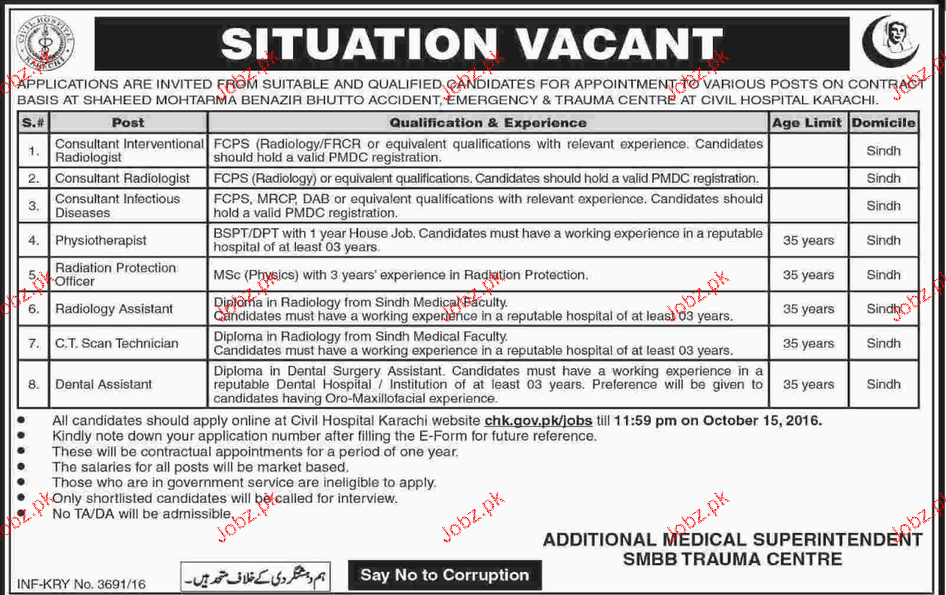 Consultants, Physiotherapists, Radiologists Job Opportunity