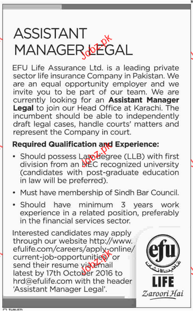 Assistant Manager Legal Job Opportunity
