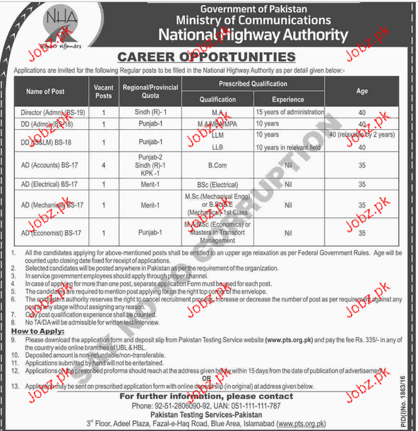Director Admin, DD Admin, AD Account Job in NHA