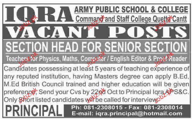 Section Head Job in Iqra Army Public School & College