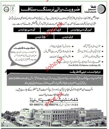 Nursing Staff Job in Shifa International Hospital