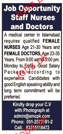 Female Nurses and Doctors Job Opportunity
