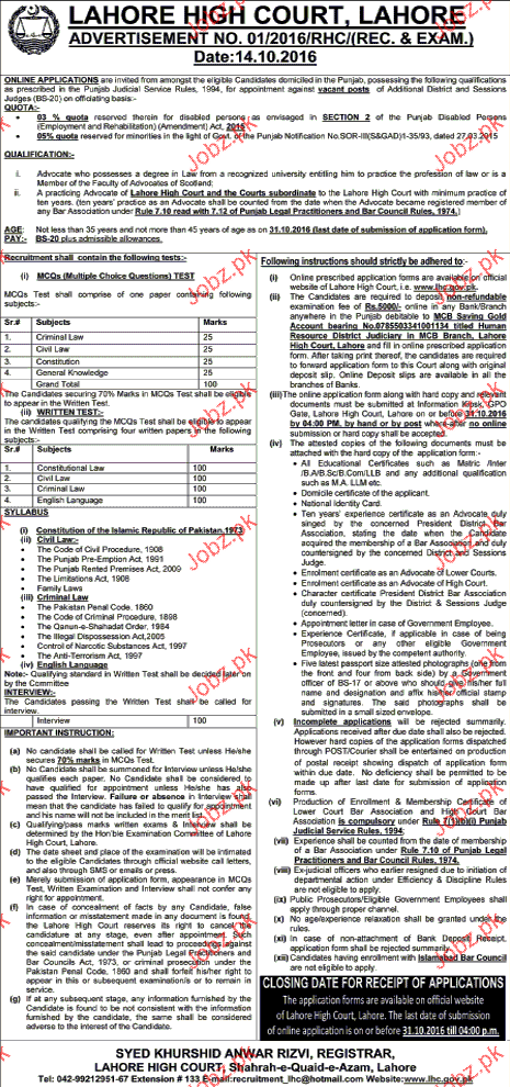 Recruitment of Judges in Lahore high Court