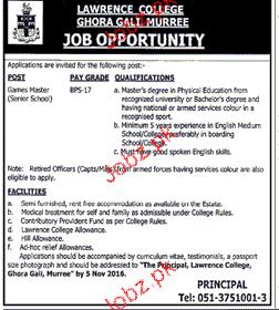 Headmasters Job in Lawerance College