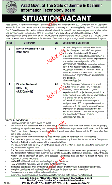 Director Technical and Director General Job in IT