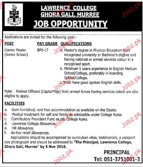 Game Masters Job in Lawerance College Ghora Gali
