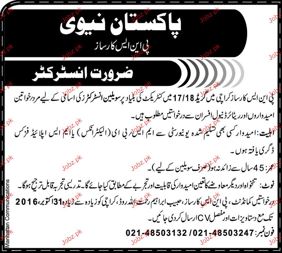 Instructors Job in Pakistan Navy