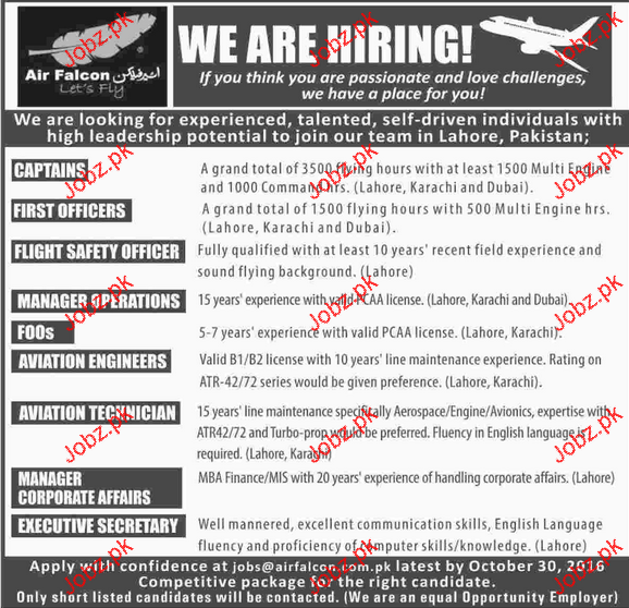 Captains, First Officers, Flight Safety Officers Wanted