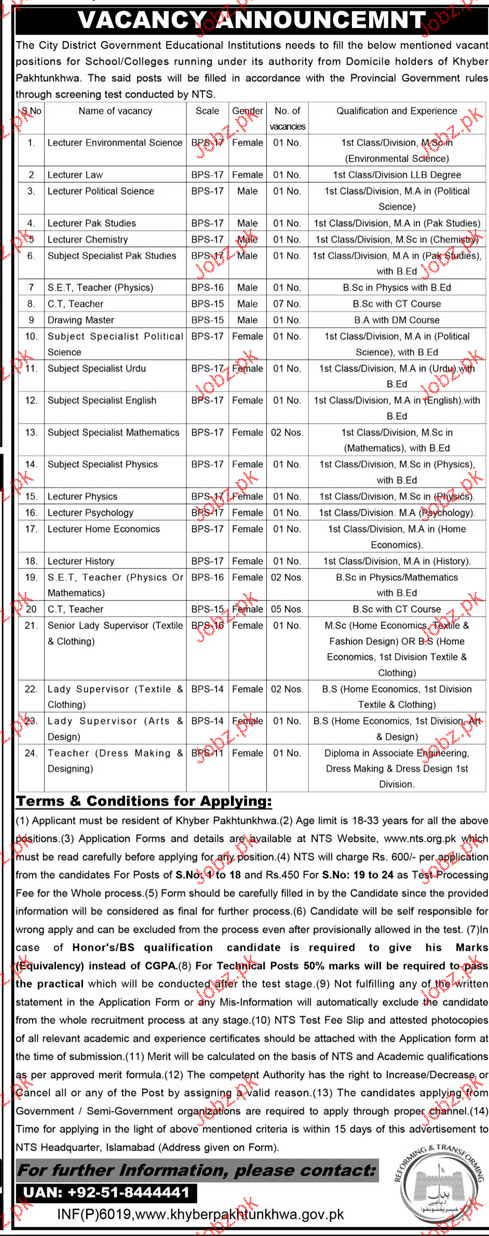 Lecturers, Subject Specialists, Teachers Job Opportunity