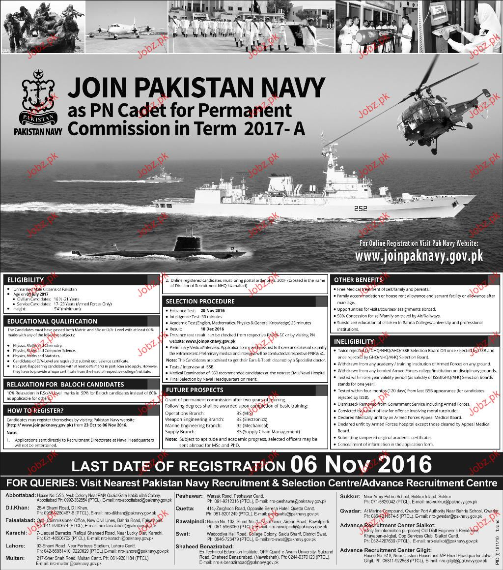Join Pakistan Navy As PN Cadet For Permanent Commission